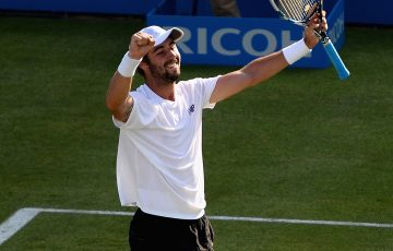 Jordan Thompson celebrates the ace that sealed a straight-sets win over Andy Murray at Queen's Club; Getty Images