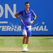 Bernard Tomic in action during his quarterfinal loss to Gael Monfils at the Aegon International Eastbourne; Getty Images