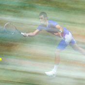 Bernard Tomic in action at the Gerry Weber Open in Halle; Getty Images
