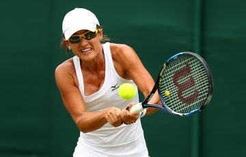 Arina Rodionova in action during her first-round win over Anastasia Pavlyuchenkova at Wimbledon; Getty Images