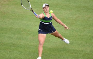 Ash Barty in action at the Aegon Classic in Birmingham, where she reached the singles final and won the doubles title; Getty Images