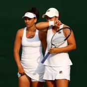 Ash Barty (R) and Casey Dellacqua are through to the women's doubles quarterfinals at Wimbledon; Getty Images