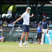 Matt Ebden in action at the ATP Dell Technologies Hall of Fame; photo credit Jennifer Carter