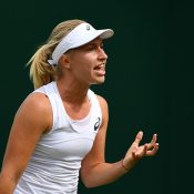 Daria Gavrilova reacts during her first-round loss at WImbledon to Petra Martic; Getty Images