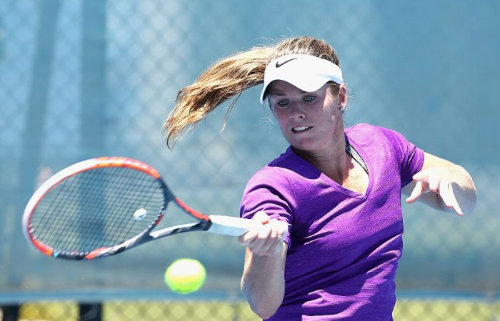 MELBOURNE, AUSTRALIA - DECEMBER 12:  Belinda Woolcock of Australia plays a forehand during the Australian Open December Showdown at Melbourne Park on December 12, 2016 in Melbourne, Australia.  (Photo by Robert Prezioso/Getty Images)