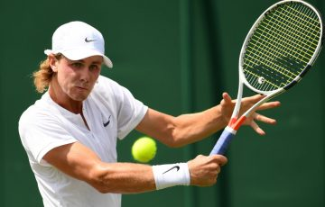 LONDON, ENGLAND - JULY 10:  Blake Ellis of Australia plays a backhand during the Boy's Singles first round match against Trent Bryde of the United States on day seven of the Wimbledon Lawn Tennis Championships at the All England Lawn Tennis and Croquet Club on July 10, 2017 in London, England.  (Photo by Shaun Botterill/Getty Images)
