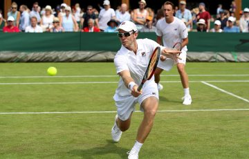 John Peers in action with Henri Kontinen in the men's doubles event at Wimbledon; Getty Images