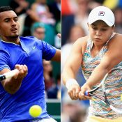 Nick Kyrgios (L) and Ash Barty compete during the grasscourt season;. Getty Images