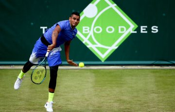 Nick Kyrgios sends down a serve at The Boodles exhibition event against Viktor Troicki; Getty Images