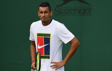 Nick Kyrgios during a Wimbledon practice session; Getty Images