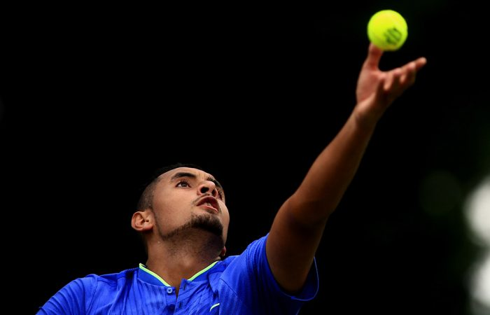 Nick Kyrgios serves during a match at The Boodles exhibition event; Getty Images