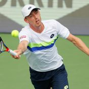 John Millman in action during his second-round loss to Ryan Harrison at the BB&T Atlanta Open; Getty Images