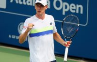 John Millman celebrates during his first-round victory over Frances Tiafoe in Atlanta; Getty Images