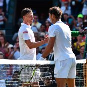John Millman (L) congratulates Rafael Nadal at the net after falling to the Spaniard in the opening round at Wimbledon; Getty Images