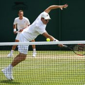 John Peers in men's doubles action with Henri Kontinen at Wimbledon; Getty Images