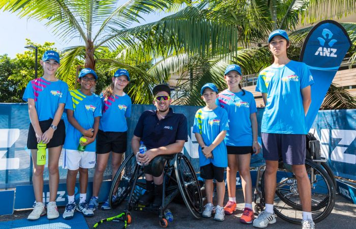 Dylan Alcott with ANZ Tennis Hot Shots in Cairns for a charity event