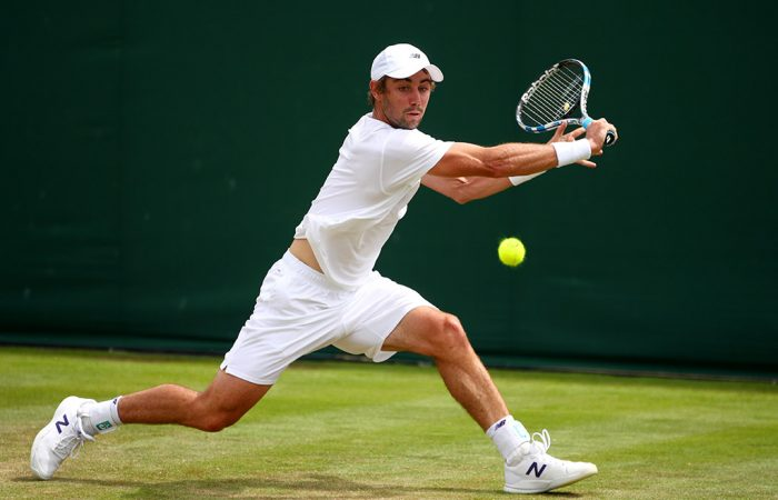Jordan Thompson in action during his first-round loss to Albert Ramos-Vinolas at Wimbledon; Getty Images