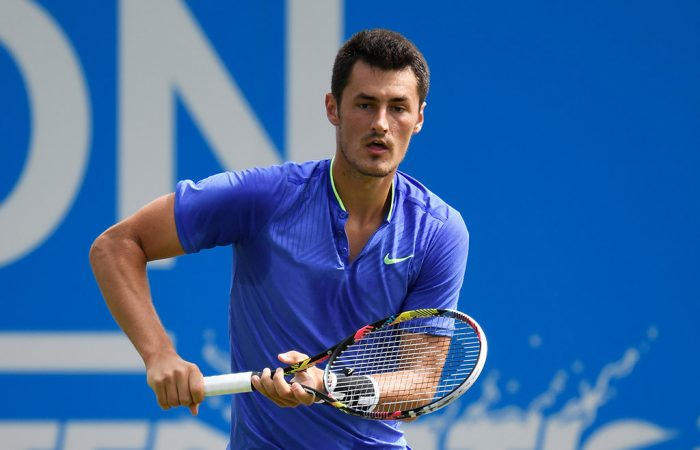 Bernard Tomic in action at the Aegon International Eastbourne; Getty Images