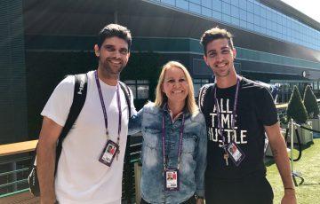 (L-R) Mark Philippoussis, Rennae Stubbs and Thanasi Kokkinakis at Wimbledon; Tennis Australia