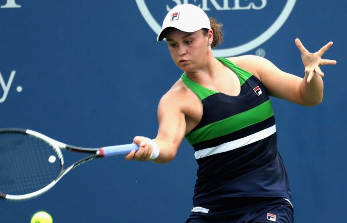 Ash Barty in action during her second-round win over Venus Williams in Cincinnati; Getty Images