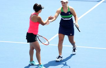 Ash Barty (R) and Casey Dellacqua in action at the WTA Connecticut Open in New Haven; Getty Images