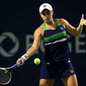 Ash Barty in action during her third-round loss to Garbine Muguruza at the Rogers Cup; Getty Images