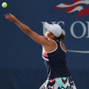 Ash Barty serves en route to victory over No.21 seed Ana Konjuh in the first round of the US Open; Getty Images