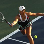 Ash Barty in action en route to victory over No.21 seed Ana Konjuh in the first round of the US Open; Getty Images