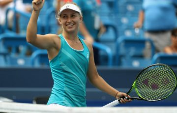 Daria Gavrilova celebrates her first-round win over Kristina Mladenovic in Cincinnati; Getty Images