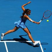 MELBOURNE, AUSTRALIA - JANUARY 18:  Jaimee Fourlis of Australia plays a backhand in her second round match against Svetlana Kuznetsova of Russia on day three of the 2017 Australian Open at Melbourne Park on January 18, 2017 in Melbourne, Australia.  (Photo by Cameron Spencer/Getty Images)