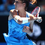 MELBOURNE, AUSTRALIA - JANUARY 18:  Jaimee Fourlis of Australia plays a forehand in her second round match against Svetlana Kuznetsova of Russia on day three of the 2017 Australian Open at Melbourne Park on January 18, 2017 in Melbourne, Australia.  (Photo by Cameron Spencer/Getty Images)