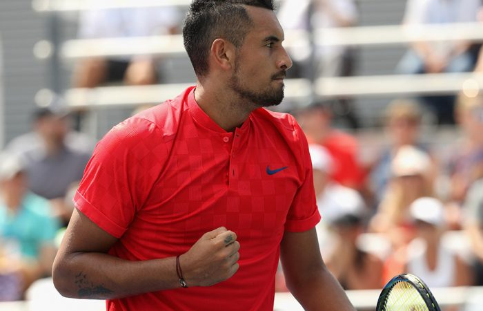 Nick Kyrgios in action during his second-round victory over Alexandr Dolgopolov at the Cincinnati Masters; Getty Images