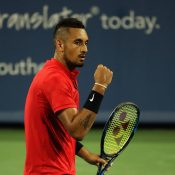 Nick Kyrgios in action during his semifinal victory over David Ferrer at the Cincinnati Masters; Getty Images