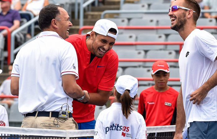 Nick Kyrgios (centre) in action at the Montreal Masters; Getty Images