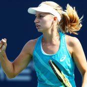Daria Gavrilova in action during the WTA New Haven final against Dominika Cibulkova; Getty Images