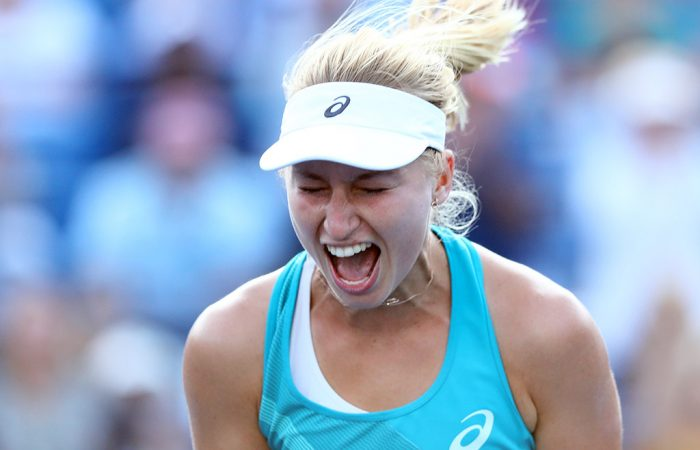 Daria Gavrilova celebrates her first WTA title at the Connecticut Open in New Haven; Getty Images
