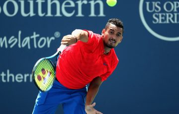 Nick Kyrgios fought past Ivo Karlovic in three tight sets. Photo: Getty Images