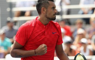 Nick Kyrgios downed Rafael Nadal to secure his 100th ATP win. Photo: Getty Images