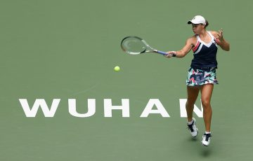 Ash Barty in action during her third-round win over Agnieszka Radwanska in Wuhan; Getty Images