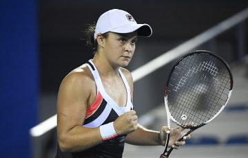 Ash Barty celebrates her second-round victory over Jo Konta in Wuhan; Getty Images