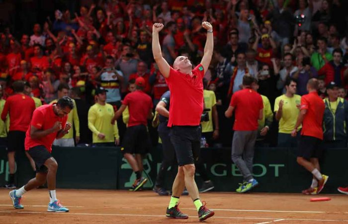 Steve Darcis celebrates his victory over Jordan Thompson, which delivered Belgium with a 3-2 win; Getty Images