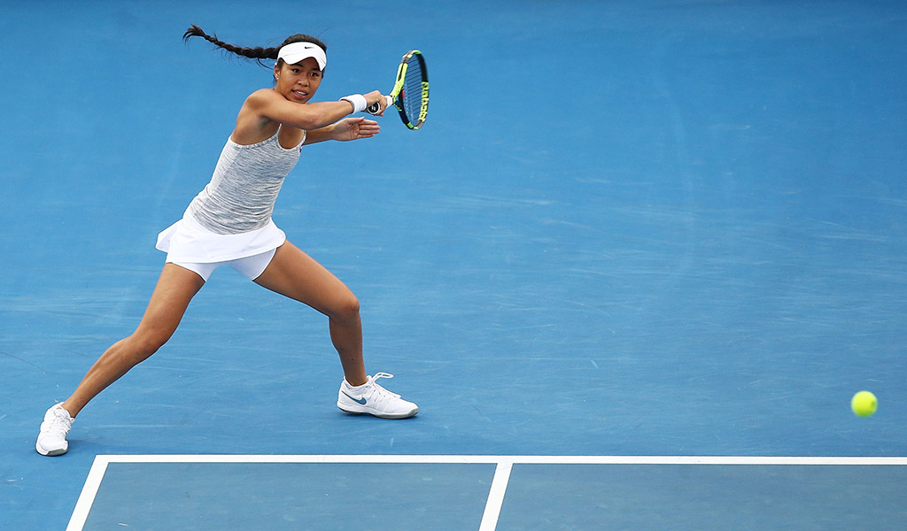 Lizette Cabrera scored her first WTA-level win in Hobart in 2017; Getty Images