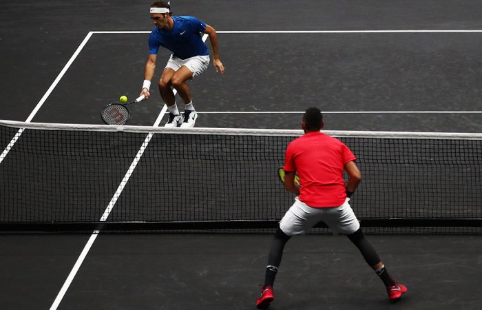 Roger Federer (top) and Nick Kyrgios do battle in their singles match at the  Laver Cup in Prague; Getty Images