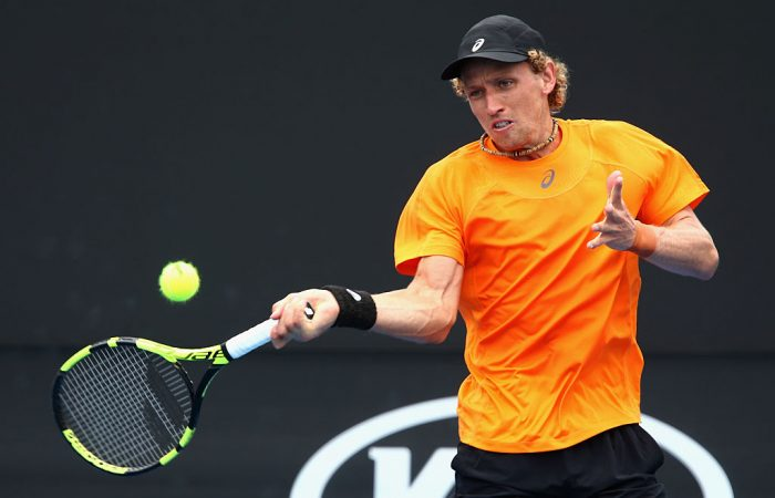 MELBOURNE, AUSTRALIA - JANUARY 11:  Maverick Banes of Australia plays a forehand in his 2017 Australian Open Qualifying match against Di Wu of China at Melbourne Park on January 11, 2017 in Melbourne, Australia.  (Photo by Robert Prezioso/Getty Images)