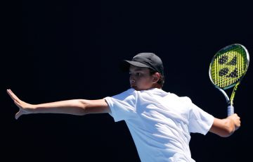 Ken Cavrak of Australia competes in first round match against Corentin Moutet of France during the Australian Open 2017 Junior Championships at Melbourne Park on January 22, 2017 in Melbourne, Australia.  (Photo by Darrian Traynor/Getty Images)