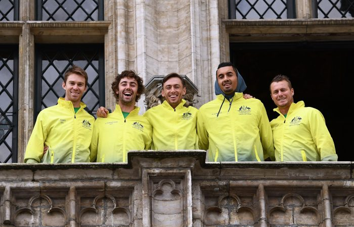 Australia's Davis Cup team (L-R) John Peers, Jordan Thompson, John Millman, Nick Kyrgios and captain Lleyton Hewitt pose for a photo during the draw for the Davis Cup tennis semi-final between Belgium and Australia in Brussels on September 14, 2017. Belgium will face Australia September 15-17, 2017 in Brussels.  / AFP PHOTO / EMMANUEL DUNAND        (Photo credit should read EMMANUEL DUNAND/AFP/Getty Images)