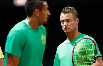 Lleyton Hewitt talks with Nick Kyrgios ahead of the Davis Cup semifinal in Belgium.