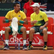 Nick Kyrgios and Lleyton Hewitt at the Davis Cup semifinal in Belgium; Getty Images