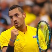 Nick Kyrgios in Davis Cup action for Australia; Getty Images