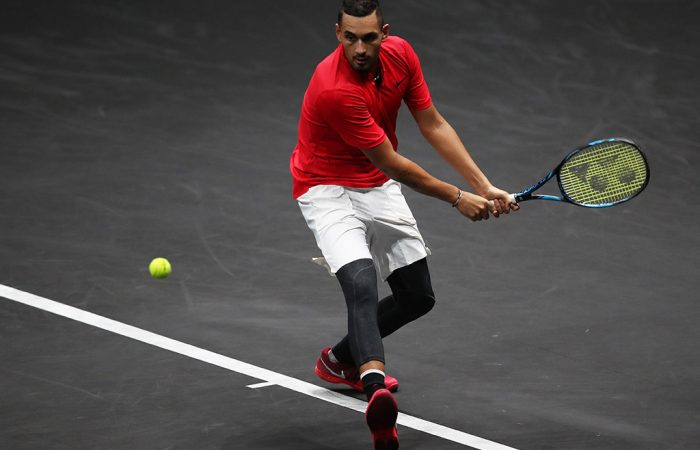 Nick Kyrgios in action for Team World against Tomas Berdych at the Laver Cup in Prague, Czech Republic; Getty Images